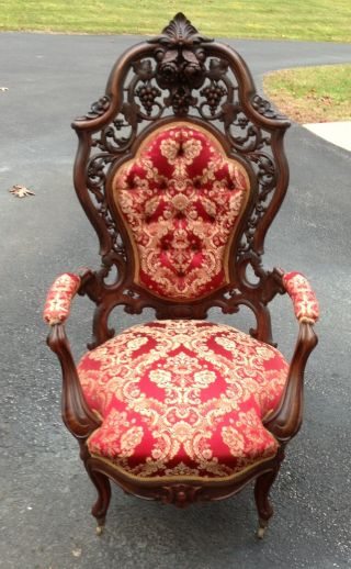 J.  J.  W Meeks Laminated Rosewood Rococo Hawkins Pattern Arm Chair photo