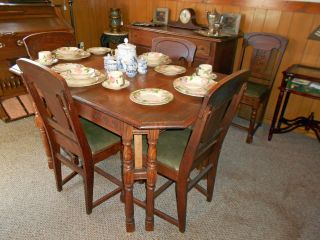 Ca.  1936 Antique Oak Sideboard,  Dining Table W/ 2 - Leaves And 6 Chairs photo