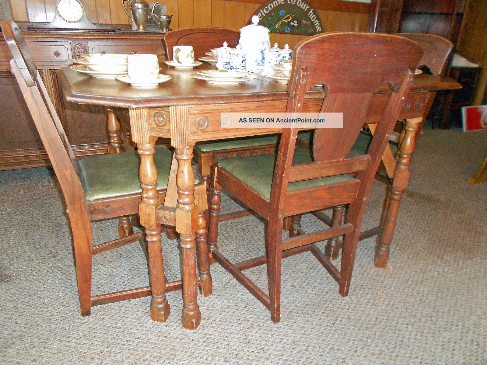 1936 Antique Oak Sideboard Dining Table W 2 Leaves And 6 Chairs
