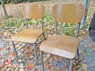 2 Vintage School House Chairs Metal & Wood Construction photo