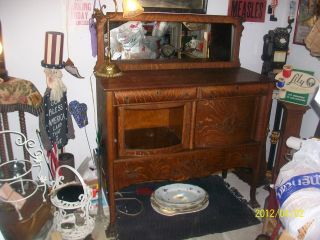 Antique Tiger Oak Buffet Sideboard Furniture W/ Mirror Claw Foot Curved Glass photo