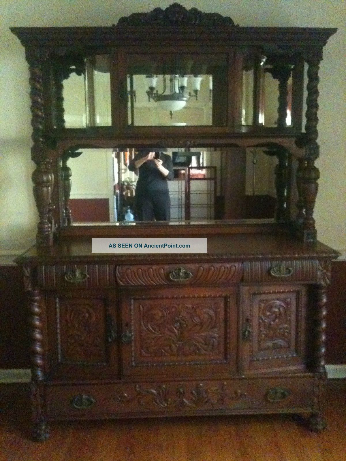 Antique Oak Sideboard Buffet With Beveled Glass Mirror Gallery