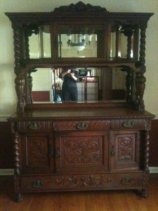 Antique Oak Sideboard Buffet With Beveled Glass & Mirror Gallery photo
