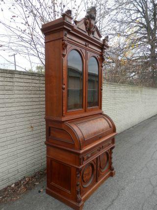 Fine Antique Cylinder Bookcase Desk Renaissance Revival Mathews Brothers Wi photo