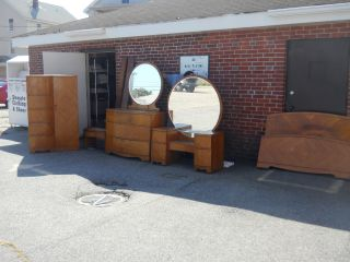 Art Deco Waterfall Bedroom Set 1930s 1940s Antique Vintage Furniture Bed Bureau photo
