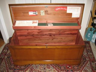 Mid Century Lane Early American Style Cedar Chest With Key Lock Circa 1957 photo