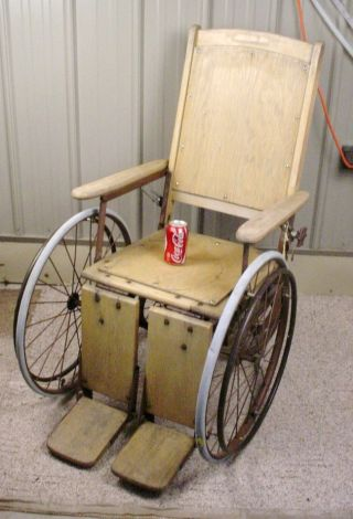 Antique Vintage Wood Wooden Adjustable Wheelchair - Halloween Fully Functional photo