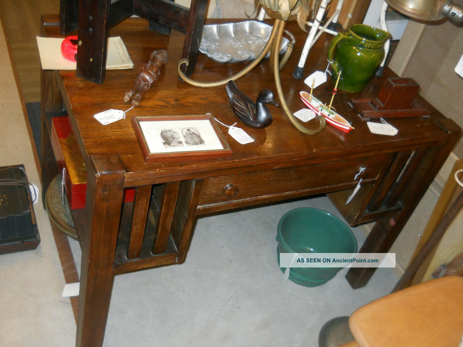 Antique Mission Oak Desk Leaven S Furniture Boston 42 X 28 30 Arts Crafts Old