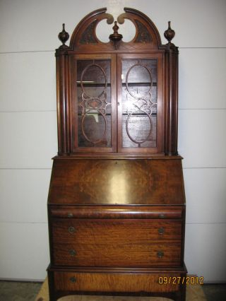Antique Burled Walnut Secretary Desk 4 Drawer photo