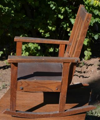 Antique Oak Wood Childs Rocking Chair Arts And Crafts Mission Style photo