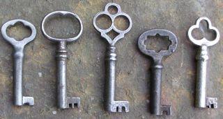 Five (5) Antique Furniture Keys Cabinet Keys Antique Barrle Barrel Keys photo
