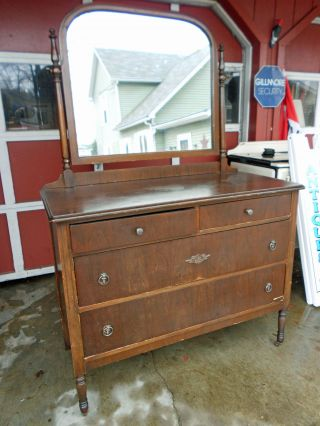 Antique Depression Era Hepplewhite Style Two Over Two Dresser W/ Mirror photo