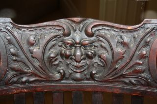 Antique Northwind Large Oak Rocking Chair With Carved Face Rocker Early 1900 ' S photo