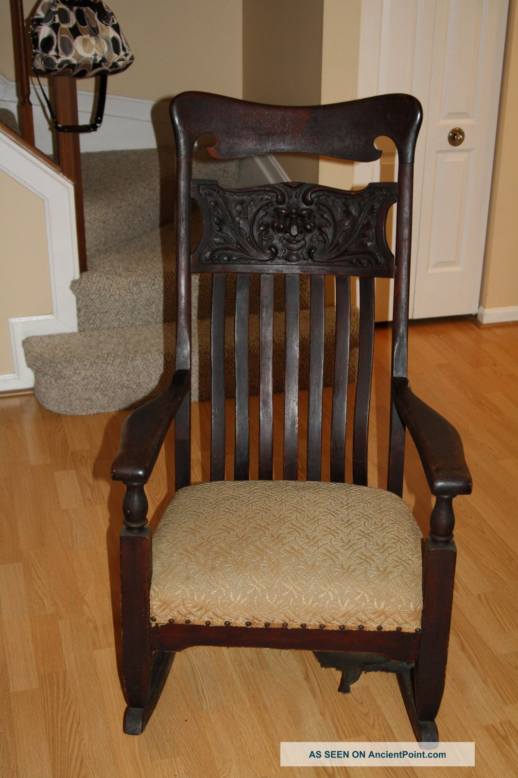 Antique Northwind Large Oak Rocking Chair With Carved Face Rocker Early  1900 ' S - Antique - Antique Rocking Chair With Carved Face Antique Furniture
