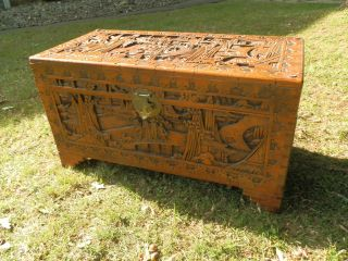 Large Antique Hand Carved Camphor Chest