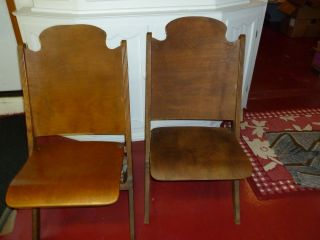 Mid Century Folding Wood Wooden Chairs 2 photo