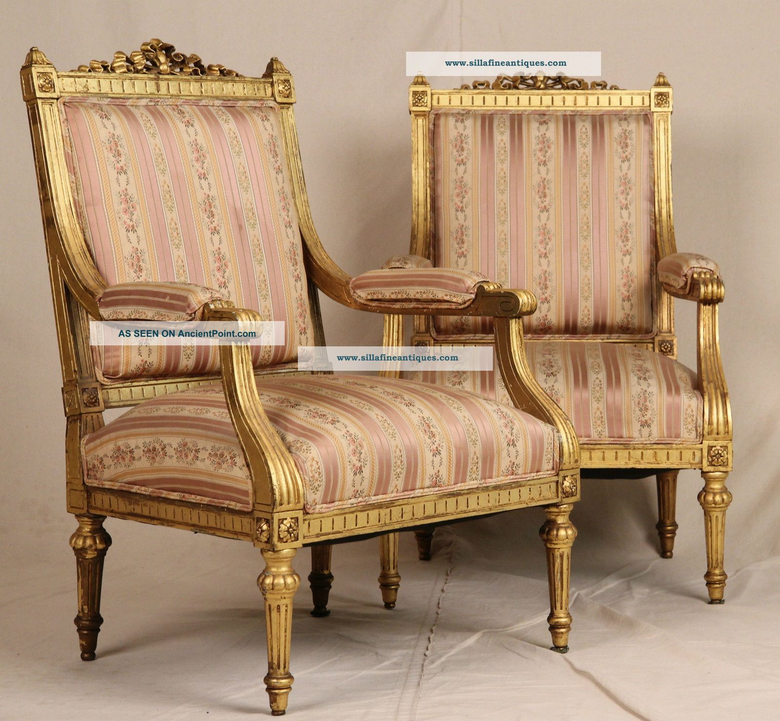 Fine Pair French Louis Xvi Carved Gilt Antique Upholstered Fauteuil Arm  Chairs