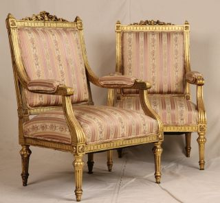 Fine Pair French Louis Xvi Carved Gilt Antique Upholstered Fauteuil Arm Chairs photo