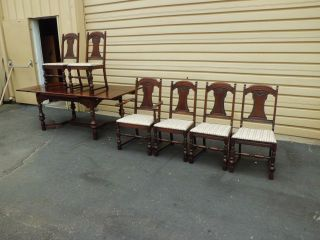 50467 Antique Walnut Refactory Dining Table With 6 Chairs Chair S photo
