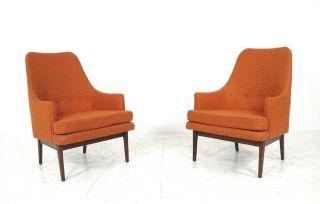Mid Century Modern Pair 2 Lounge Chair Ed Wormley Jens Risom Paul Mccobb Era photo