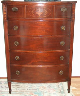 1900 ' S Duncan Phyfe Tall Chest - Mahogany photo