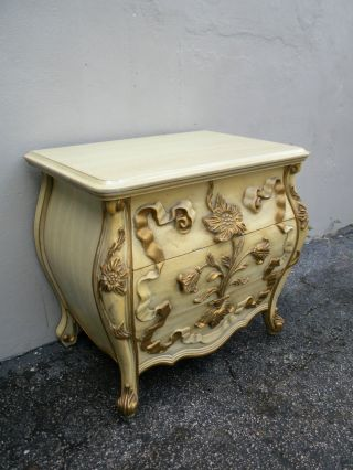 French Bombay Carved Painted End Table / Commode 2696 photo