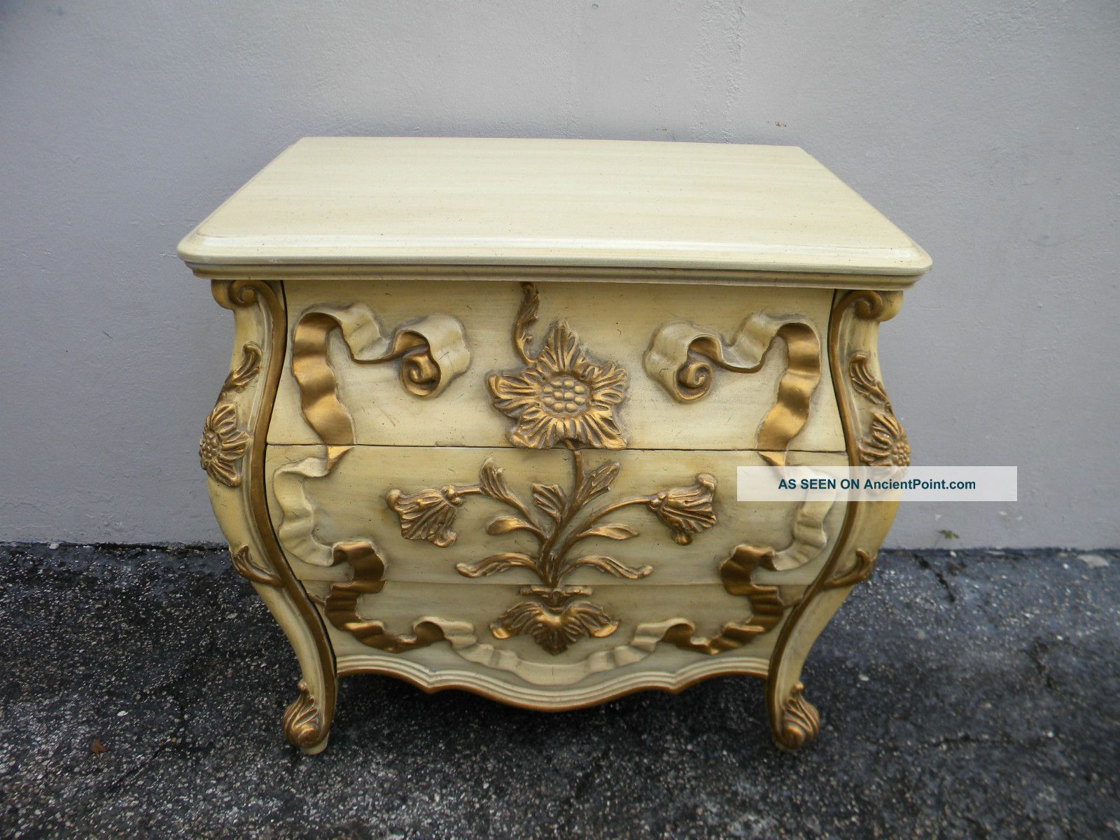 French Bombay Carved Painted End Table Commode 2696