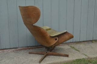 Mid - Century Modern Plycraft Lounge Arm Chair Bent Wood Vintage Eames Mulhauser photo