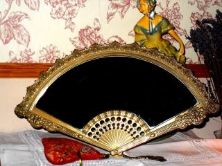 Gorgeous Vintage Mirror Geisha Fan Glass Ornate Brass Stand Shabby Chic photo