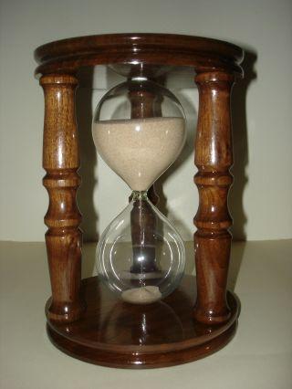 Walnut Wood 9 Inch 60 Minute Sand Hourglass photo