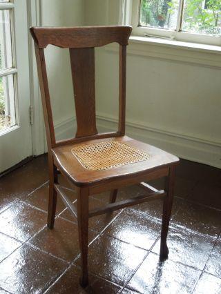 Cane Seat Antique Wood Vintage Chair photo