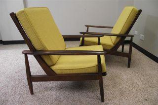 Pair Mid - Century Danish Modern Lounge Chairs Set photo
