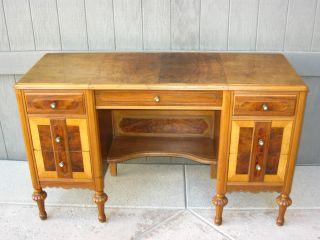 Gorgeous Art Deco Vintage Burl Wood Inlay Computer Desk W Metal Handware photo