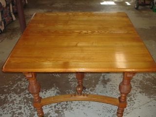Antique Square Oak Dining Room Table Beehive Style photo