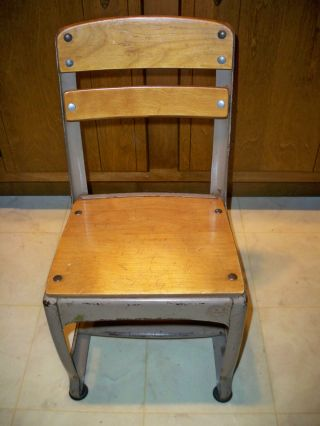 Vintage Wood & Metal Child ' S School Chair Envoy 11 Made In Usa photo