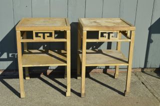 Mid - Century Modern Pair Of Asian Inspired Tall End Tables Springfield Furniture photo
