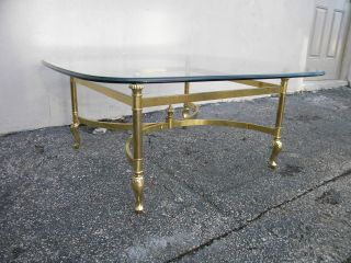 Mid - Century Brass Glass Top Coffee Table 2606 photo