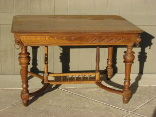 Vintage Lions Head Ornate Solid Carved Wood Desk Library Table photo