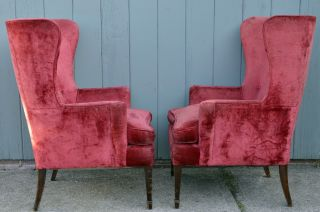 Vintage Wing Back Chairs Mid Century Modern Funky Retro Fireside Antique Regency photo