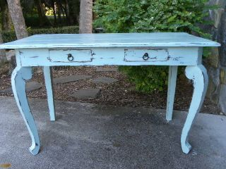 Vintage Writing Table Desk Painted With Annie Sloan Chalk Paint Distressed photo