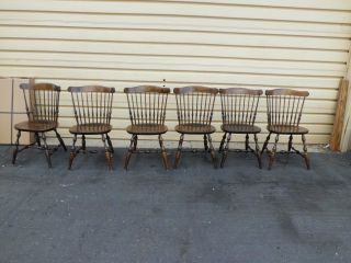 50848 Set Of 6 Nichols And Stone Solid Maple Windsor Dining Side Chairs photo