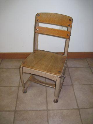Vintage Wood/metal Children ' S Preschool School Chair Shabby American Seating 11 photo