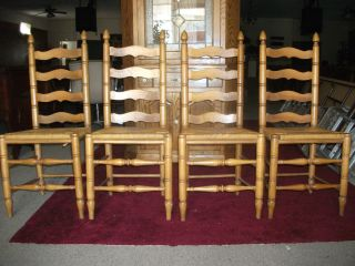 Vintage Antique Oak Caned Ladder Back Chairs Special $300 photo