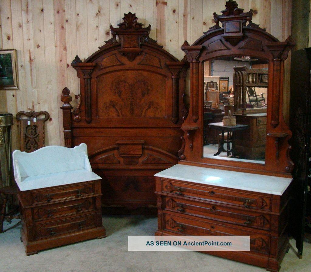 Great 3 Piece 1870 \' S Victorian Walnut Marble Top Bedroom Set