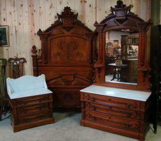 Great 3 Piece 1870 ' S Victorian Walnut Marble Top Bedroom Set photo