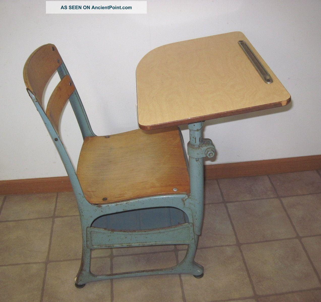 vintage wood metal children s elementary school desk w chair 15