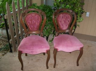 Pair Of Antique Walnut Chairs photo