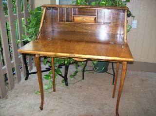 Antique Maple Drop Lid Ladies Writing Desk photo