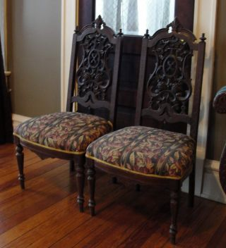 Antique 1800 ' S Heavily - Carved Walnut Pair 2 Side Chairs,  Victorian,  Reduced photo