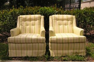 Pair Vintage Antique Drexel Mid Century Modern Upholstered Club Lounge Arm Chair photo